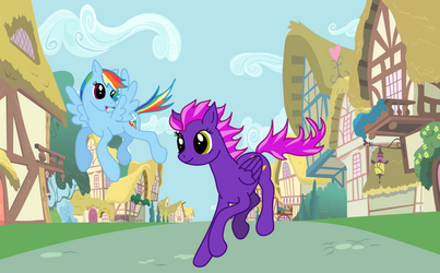 Showing speed to Rainbow Dash