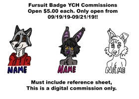 Fursuit Badge Commissions YCH $5.00 each, limited by shibblesgiggles01