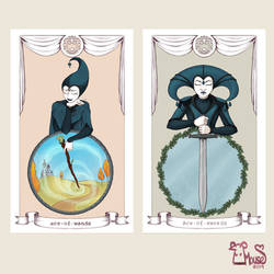 Harlequin Tarot - Ace of Wands and Swords