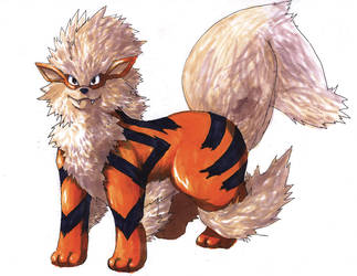 Pokemon Artwork: Arcanine by Pixelated-Takkun