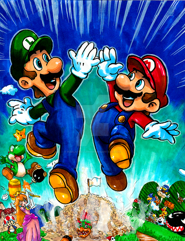 Commission: VG Art 21: Super Mario Brothers by matsuyama-takeshi