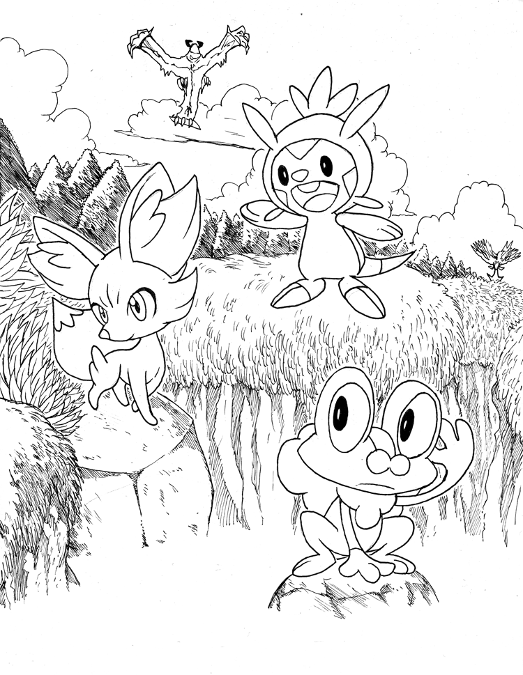 Pokemon X and Y: Starters Lineart by matsuyama-takeshi