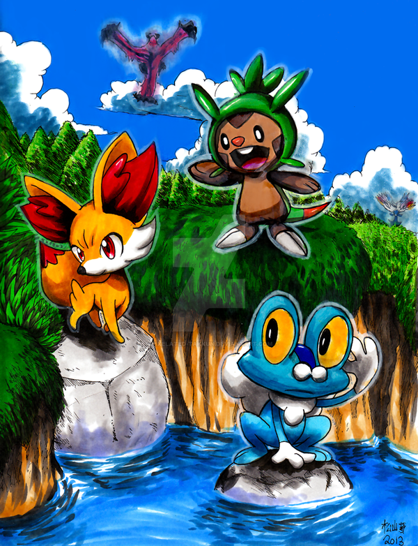 Pokemon X and Y: Starters Lineart by Pixelated-Takkun on DeviantArt
