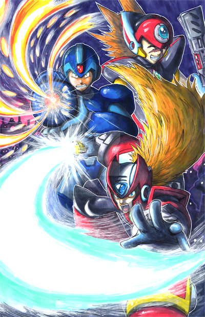 Mega Man X Trio by matsuyama-takeshi