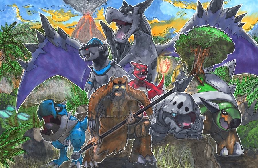 Commission: Prehistoric Pokemon Team by Pixelated-Takkun