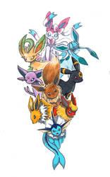 Commission: Eeveelution Family by Pixelated-Takkun