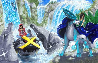 Commission: Shiny Pokemon Trainers by Pixelated-Takkun