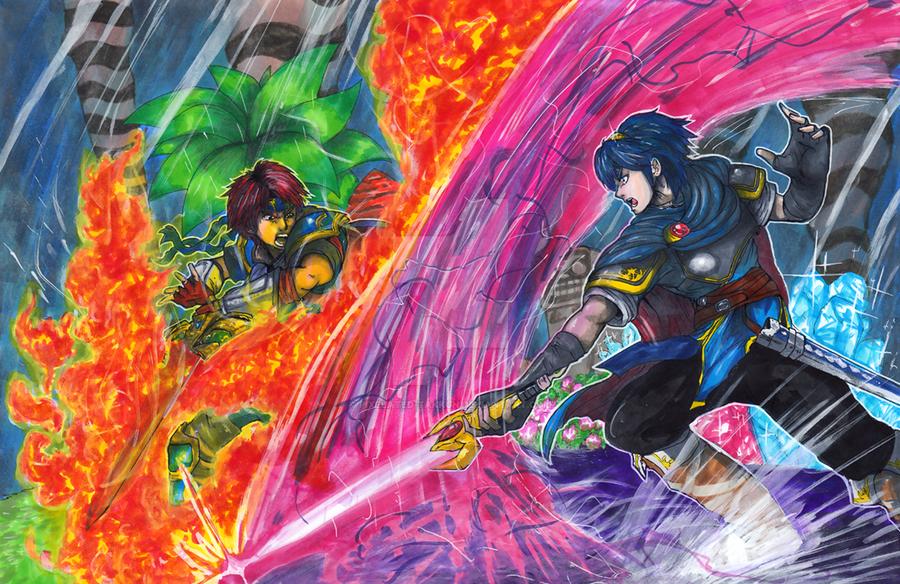Commission: Roy VS Marth by matsuyama-takeshi