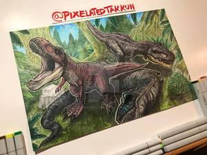 Commission: Tyrannosaurus Hunting