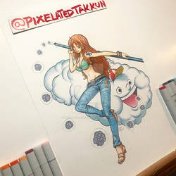 One Piece Nami and Zeus Colour Study