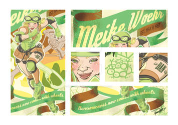 Vintage Roller Derby poster illustration detail