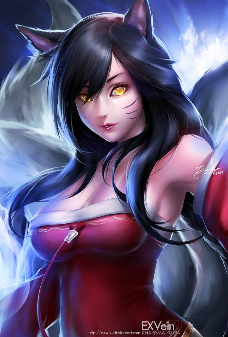 ahri league of legends by exvein by exvein on deviantart