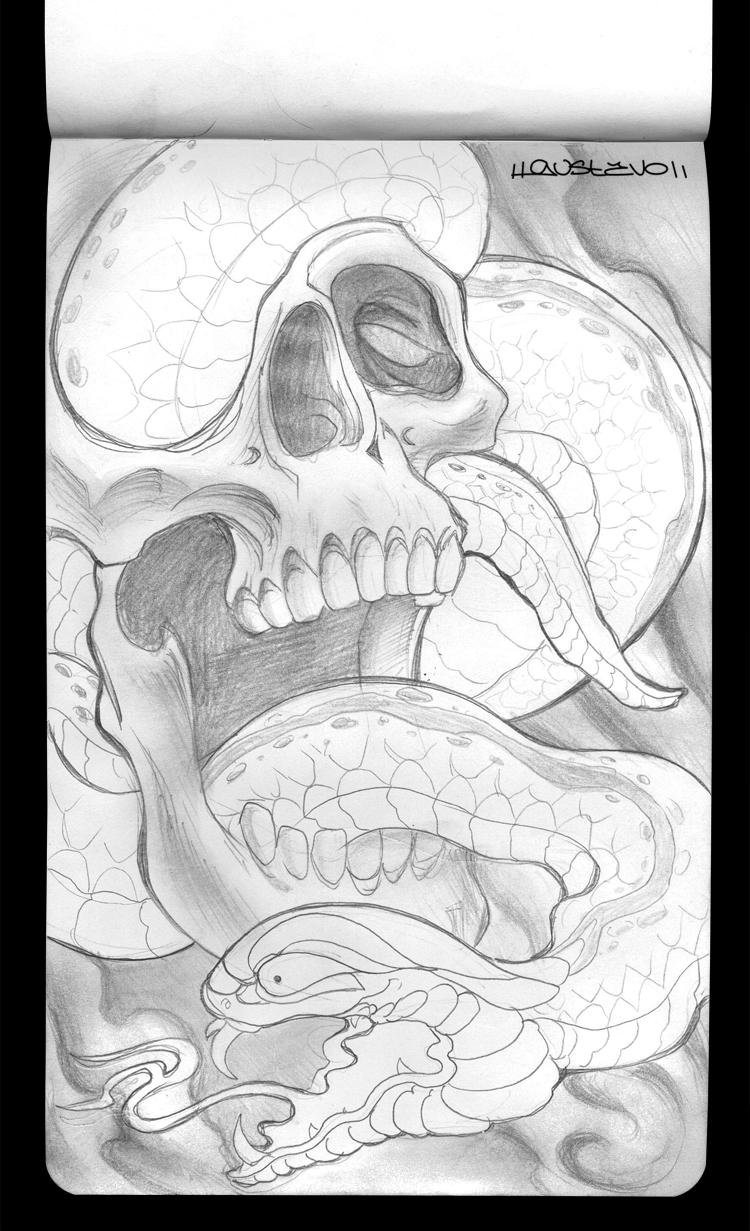 skull n snake tattoo sketch by psychopunkpk1 on deviantart