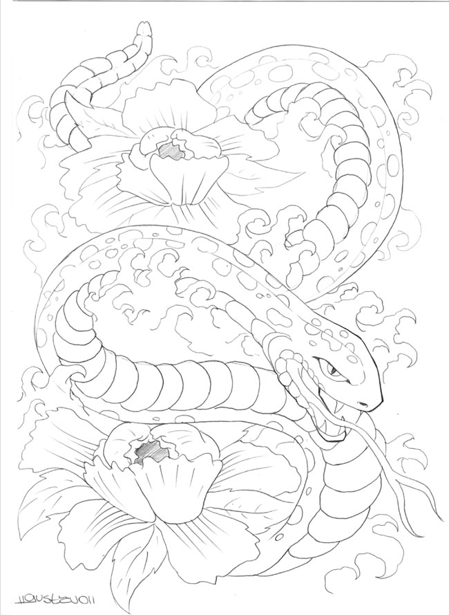 Serpente_Oriental Tattoo - flower tattoo