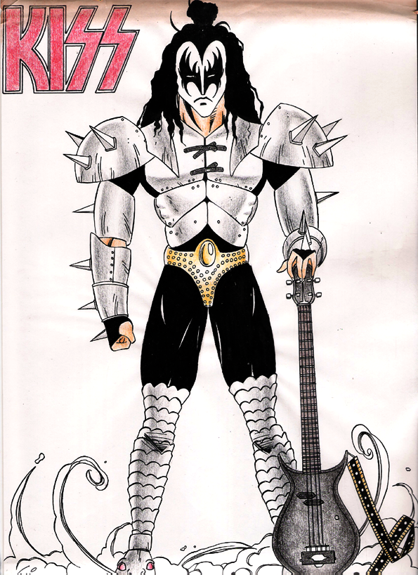 kiss gene simmons drawing day1 by kaizo