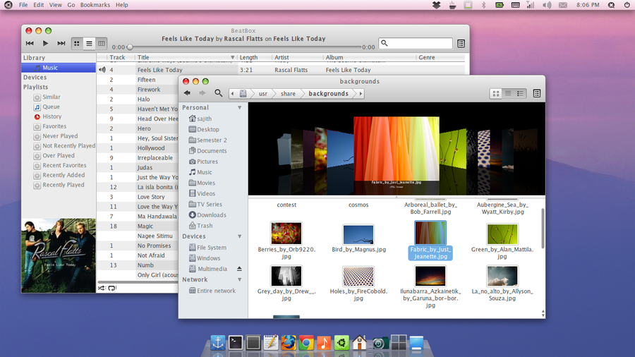 Ubuntu with OS X Lion theme by sajithd