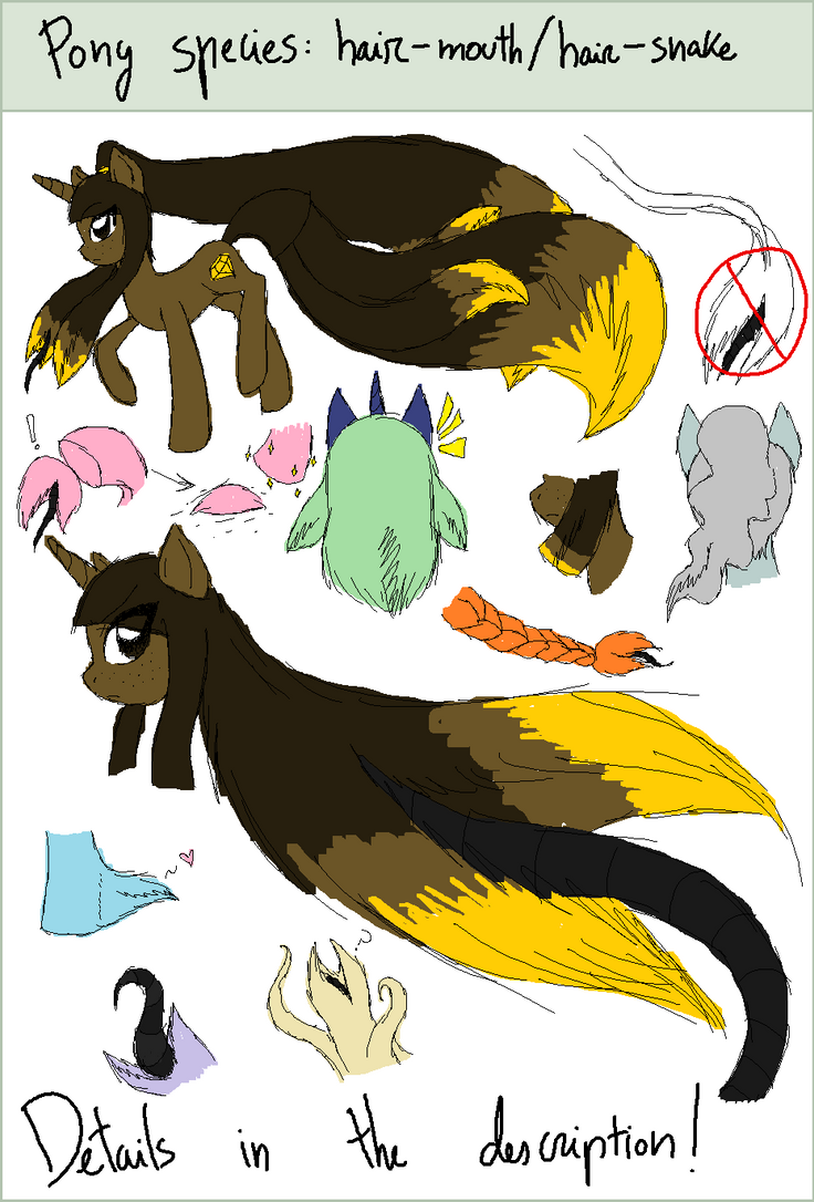 My Little Pony species: hair-mouth/hair-snake by EddaAkatsukiller