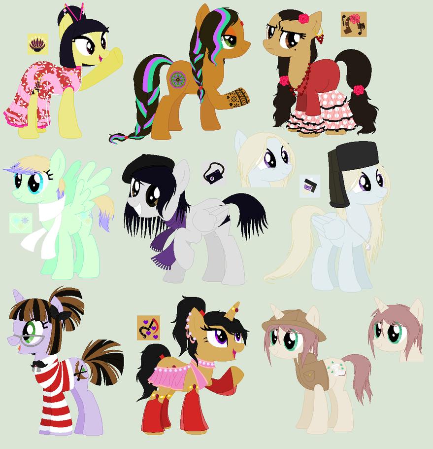 My Little Pony: adoptables around the world by EddaAkatsukiller