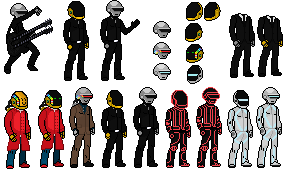 Daft Punk helmets and Bodies by rubbitty