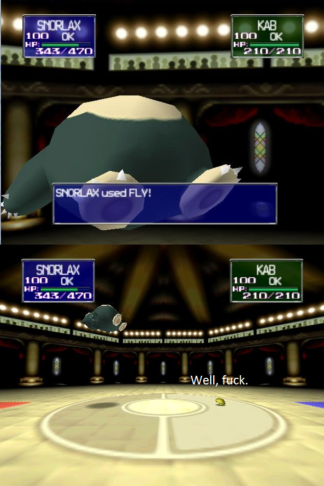 Snorlax Used Fly :D by Vexinggenius
