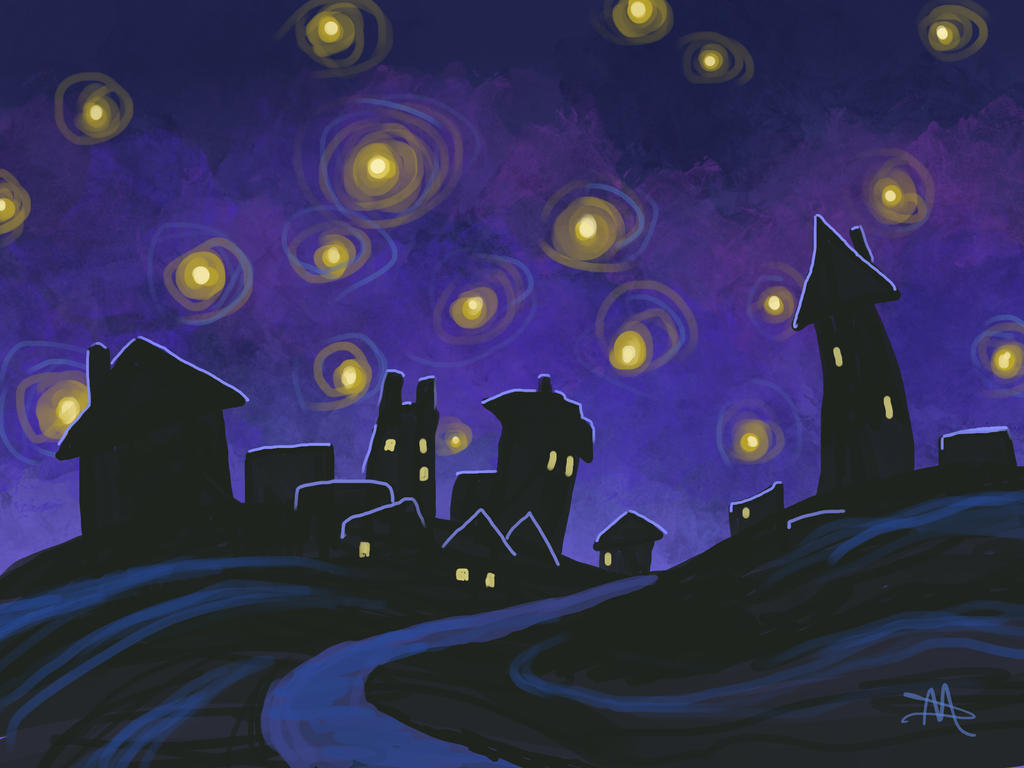 Night Village by LongHomeFox