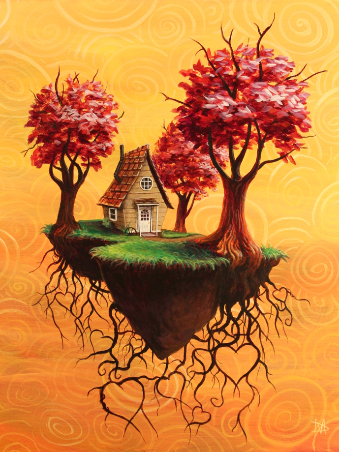 Uprooted flying house