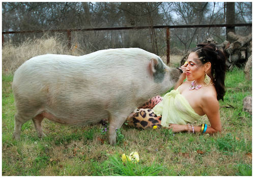 a woman and her pig