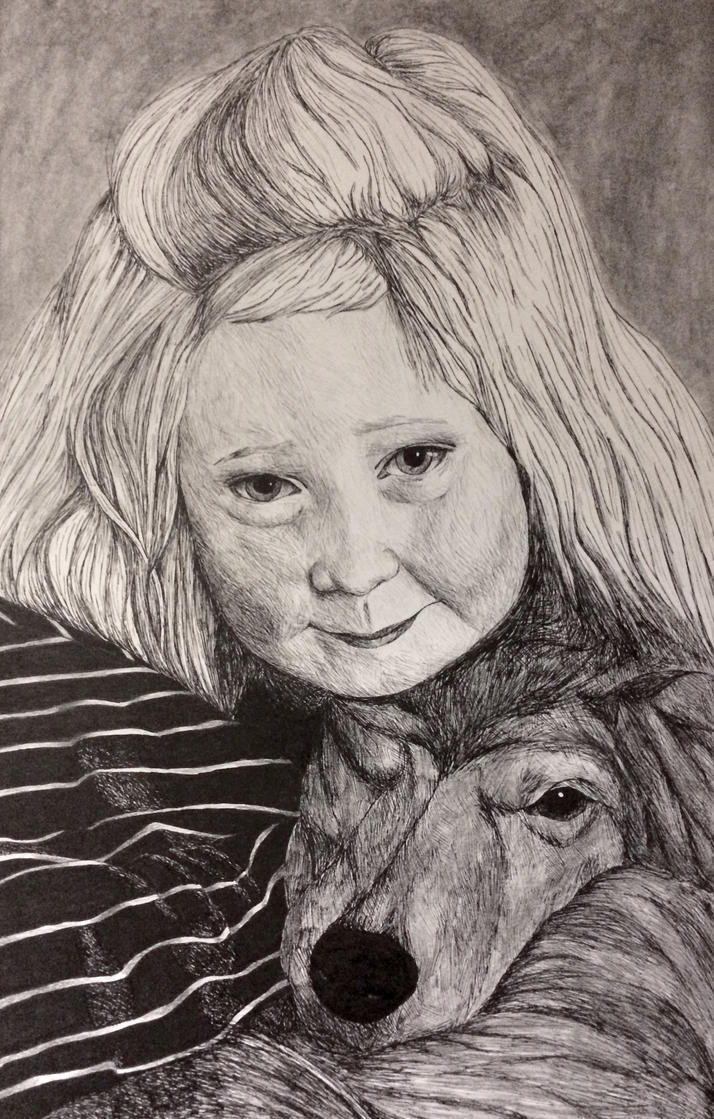 Child and Dog Portrait - Pen and ink by weblore