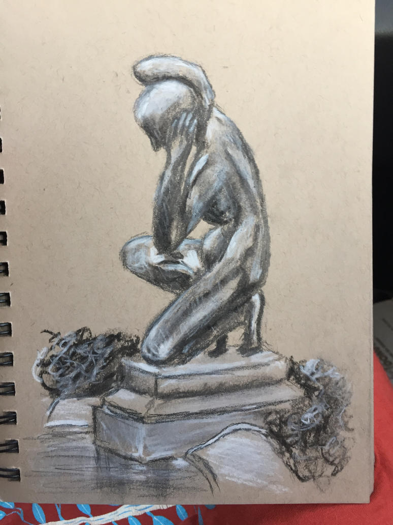 Statue Sketch - charcoal by weblore