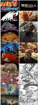 NARUTO x AOT - tailed beasts vs nine titans