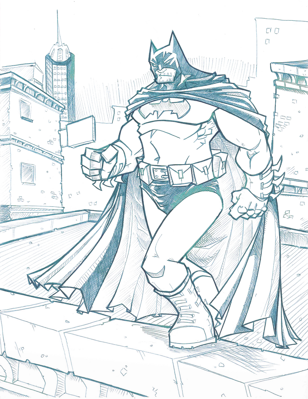 Batman Linework by davidstonecipher
