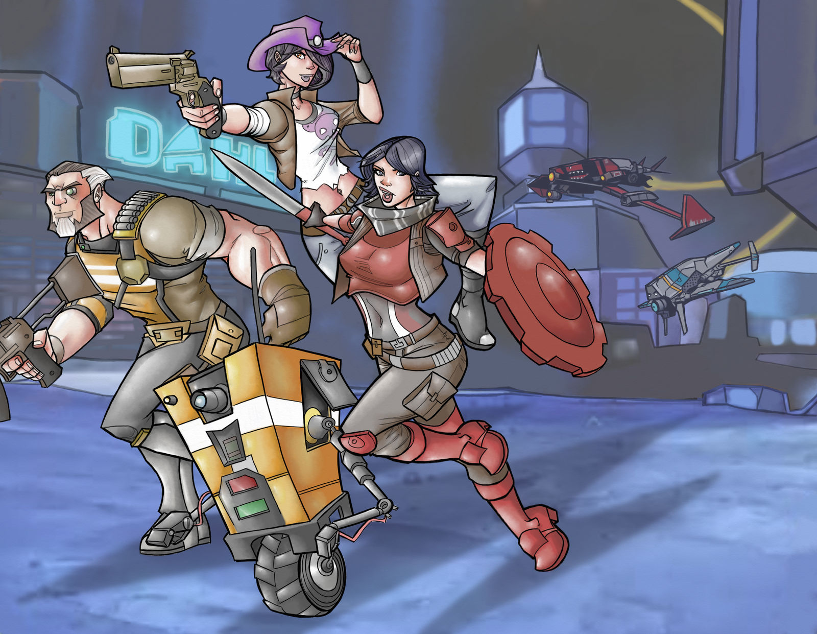 Borderlands: The Pre-Sequel characters in color by