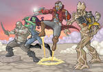 Guardians of the Galaxy crew in full-color