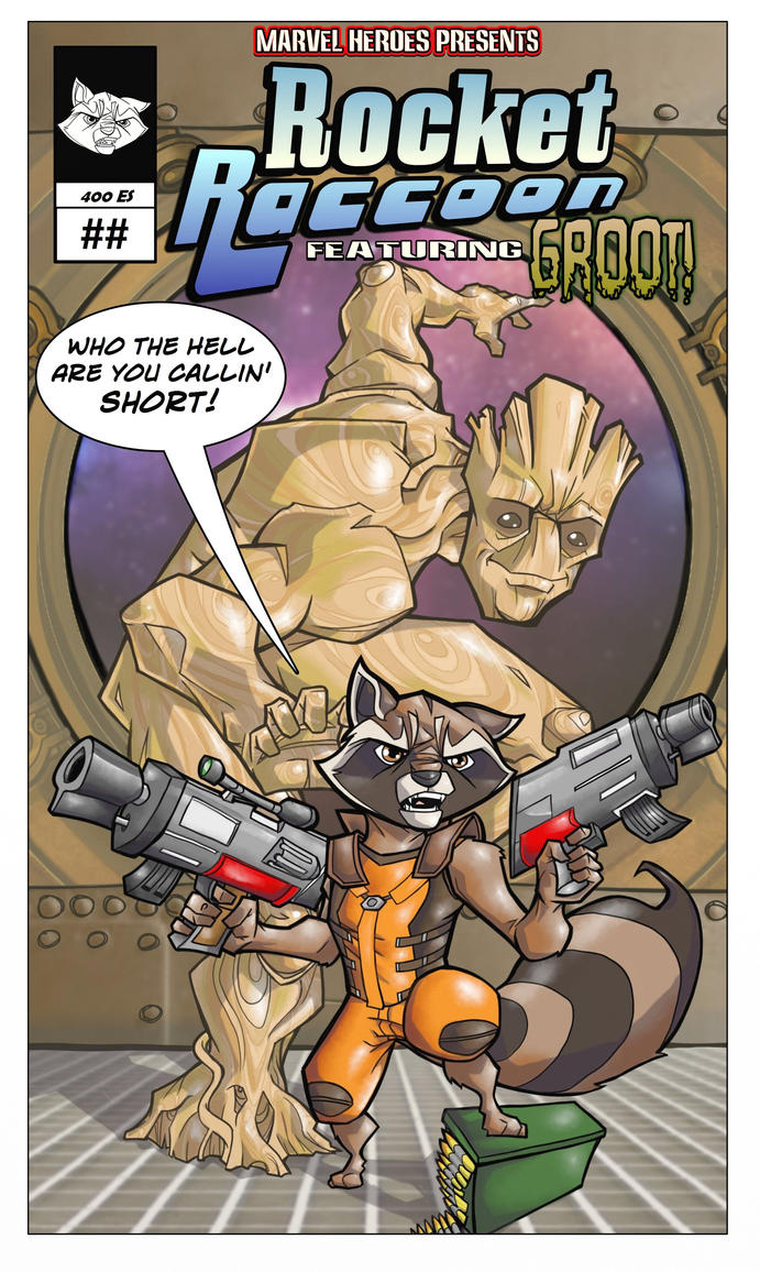 Rocket Raccoon full-color comic cover by davidstonecipher