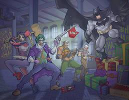 Batman Vs The Joker and Harley Quinn by davidstonecipher