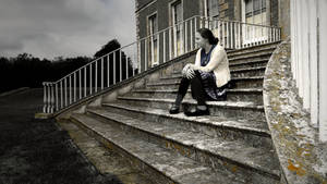 Girl on Stone Steps