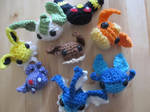 Eevee Evolution Amigurumi's by Kisses-or-Stitches