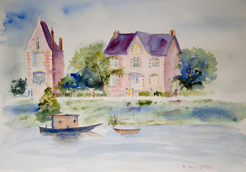 Aquarelle maisons du bord de loire by vogesen on deviantart for Aquarelle maison