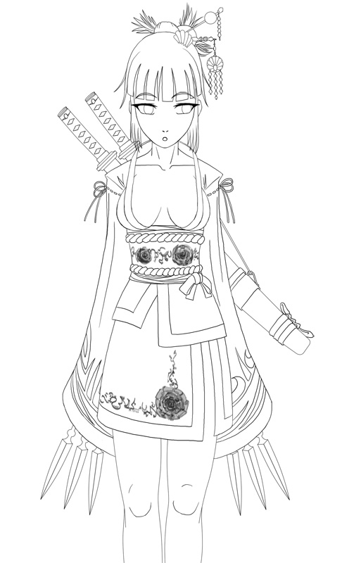 Line Art Ninja : July ninja girl lineart by pieterator on deviantart