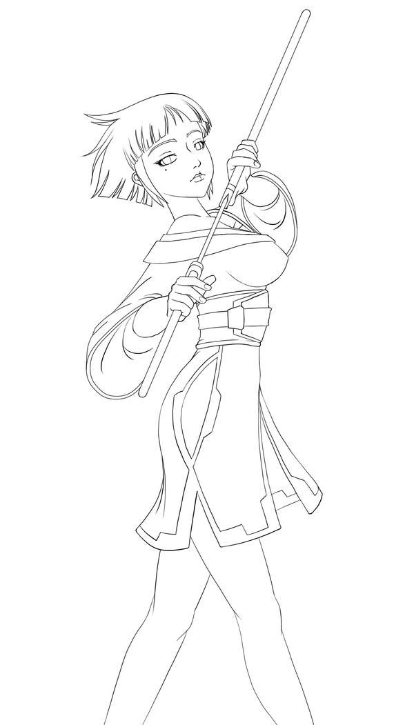 Line Art Ninja : Ninja girl version line art by pieterator on deviantart