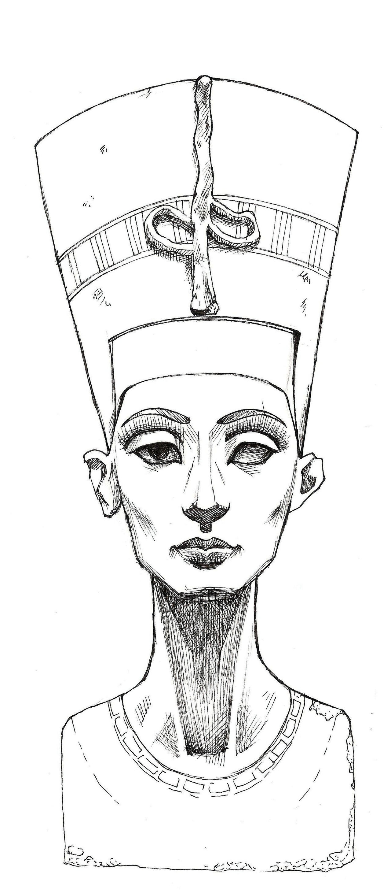 Line Drawing Queen : How to draw nefertiti