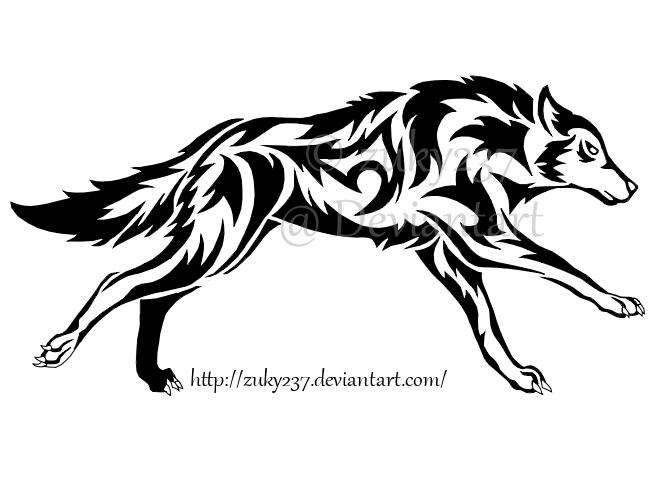 Lineart Wolf Tattoo : Running wolf tattoo by zuky on deviantart