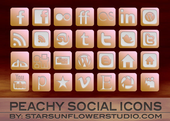 Peach Social Icons by starsunflowerstudio