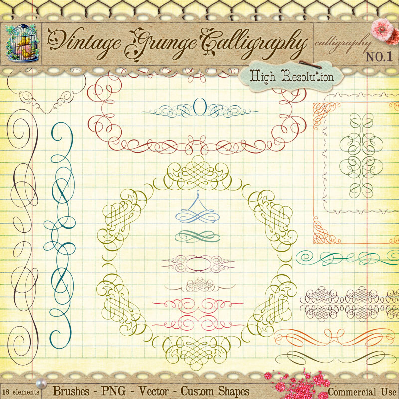 Vintage calligraphy borders and ornaments by