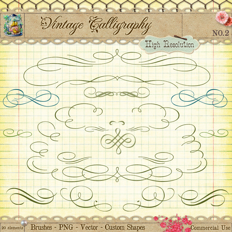 Calligraphy borders and ornaments no by