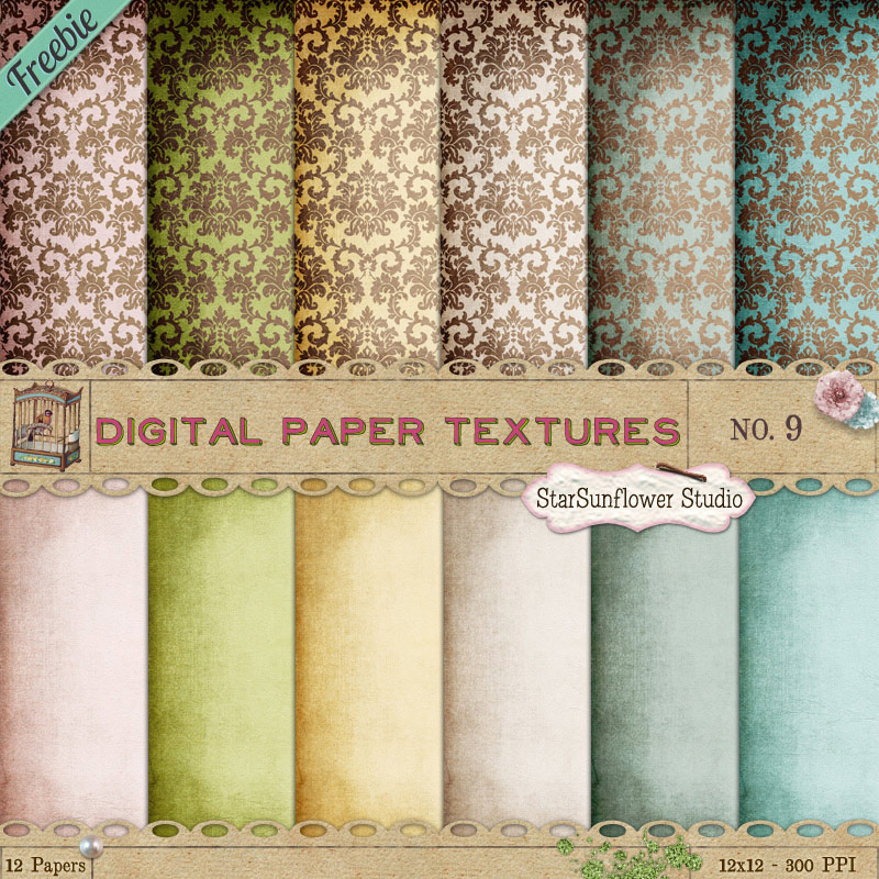 Free Damask Paper Textures by starsunflowerstudio