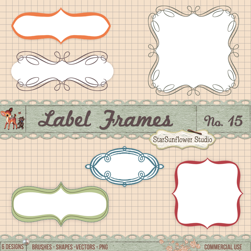 Calligraphy frames borders shapes brushes vector by