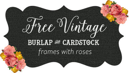 Burlap and Kraft Shabby Frames Clip art with Roses by starsunflowerstudio