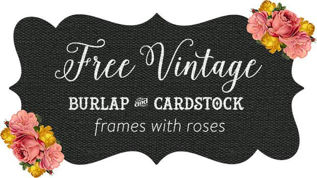 Burlap and Kraft Shabby Frames Clip art with Roses