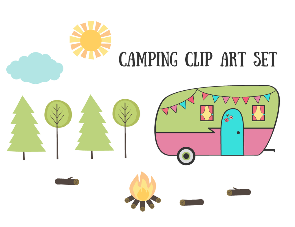 Free Vintage Retro Camping Clip Art Set by starsunflowerstudio
